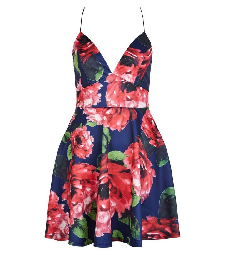 604064512826 AX Paris Navy Floral Print Plunge Skater Dress