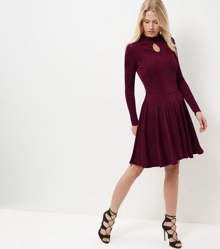 0ae8b18c59bd Burgundy Keyhole Funnel Neck Long Sleeve Swing Dress
