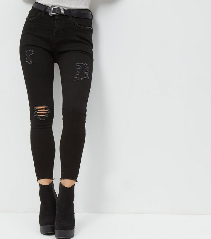 a0eda16c1 Petite Black Ripped Skinny Jeans | New Look