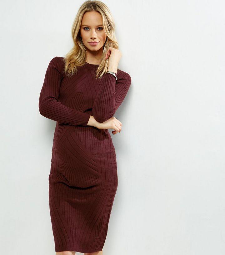 056b622048a8 Maternity Burgundy Ribbed Midi Dress