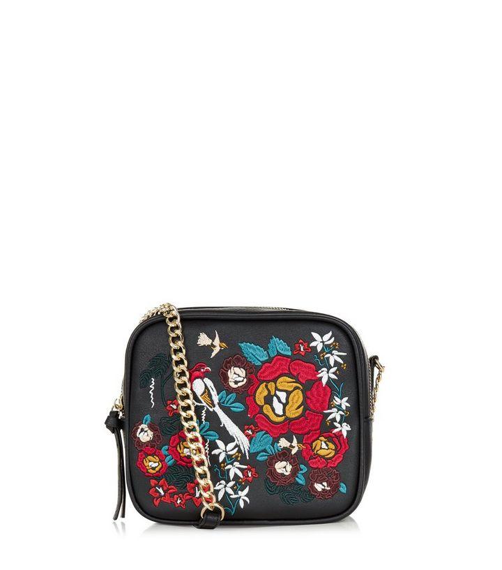 e86806edbca3 Black Embroidered Across Body Bag