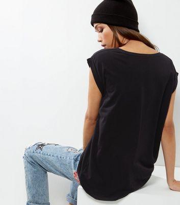 Tall Black Rolled Sleeve Boyfriend T-shirt New Look