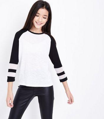 Teens Black Raglan Sleeve Mesh Panel Top New Look