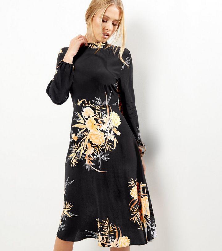 203fff2163bbd Black Floral Print Funnel Neck Long Sleeve Midi Dress | New Look
