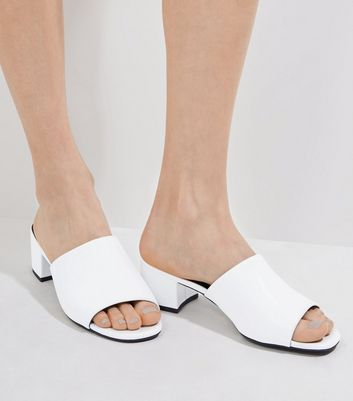White Heeled Mules | New Look