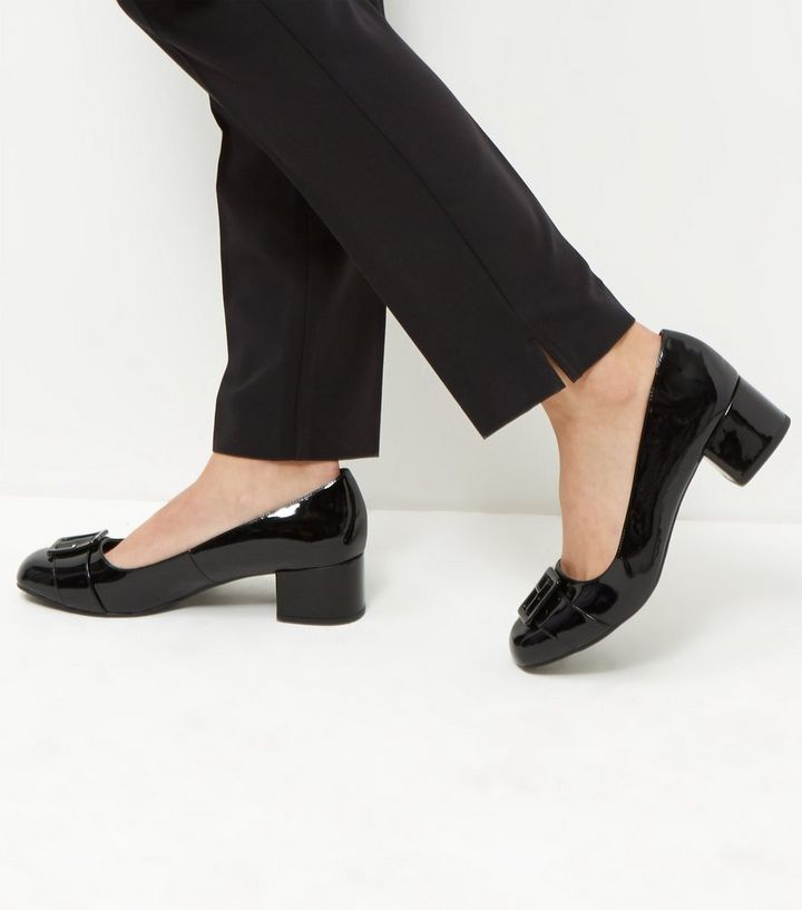 084403bbd6d9 Wide Fit Black Comfort Patent Buckle Front Court Shoes New Look