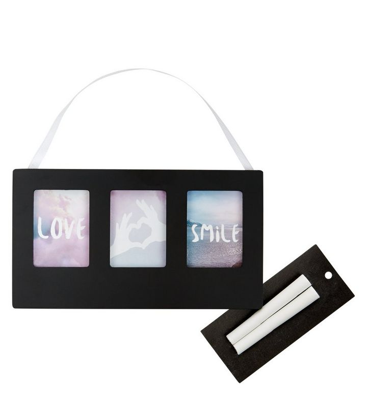 Black Trio Chalkboard Picture Frame | New Look