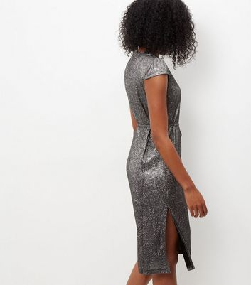 Mela Silver Cap Sleeve Shimmer Midi Dress New Look