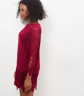 Mela Burgundy Lace Dress New Look