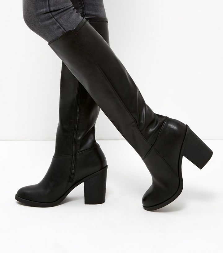 346160cf84c Black Leather-Look Stretch Knee High Boots