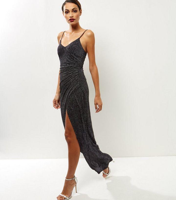 6dc40551a0ba Black Glitter Strappy Maxi Dress | New Look