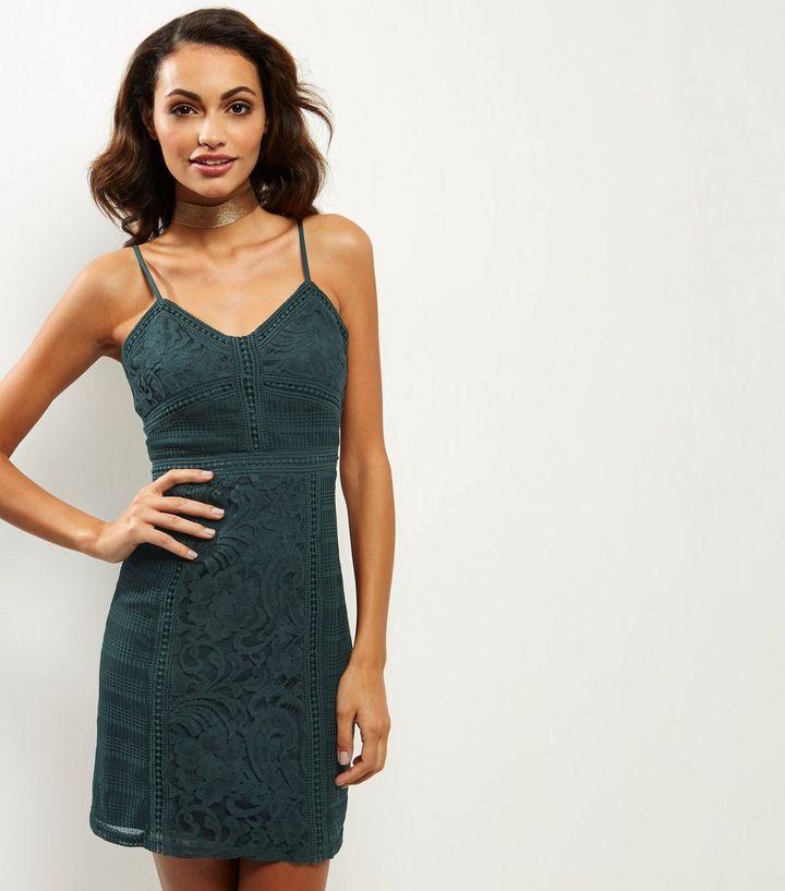27cef08cd3 Dark Green Lace Bodycon Dress