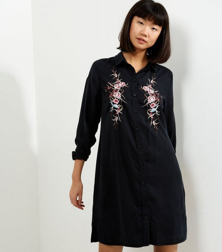 13499bd170 Black Floral Embroidered Long Sleeve Shirt Dress | New Look
