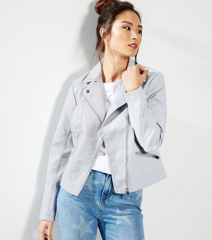 400a9a4132f37 Pale Blue Leather-Look Biker Jacket   New Look