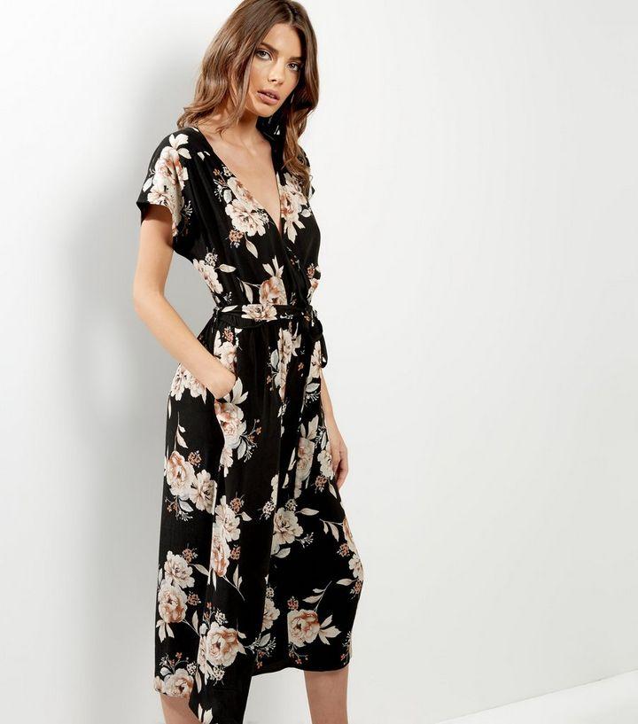 3f048e9206 Black Floral Print Tie Waist Culotte Jumpsuit