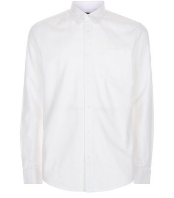White Brushed Cotton Long Sleeve Shirt New Look
