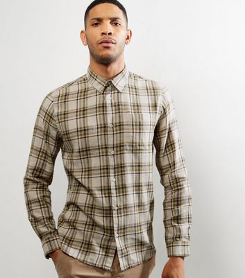Cream Check Long Sleeve Shirt New Look