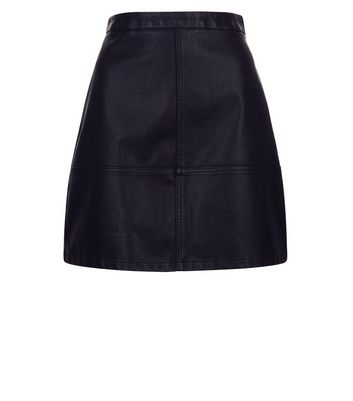Black Leather-Look Mini Skirt New Look