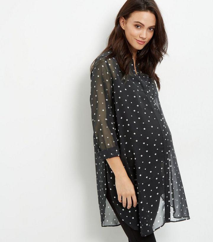 956733ac1212c Maternity Black Star Print Longline Shirt | New Look