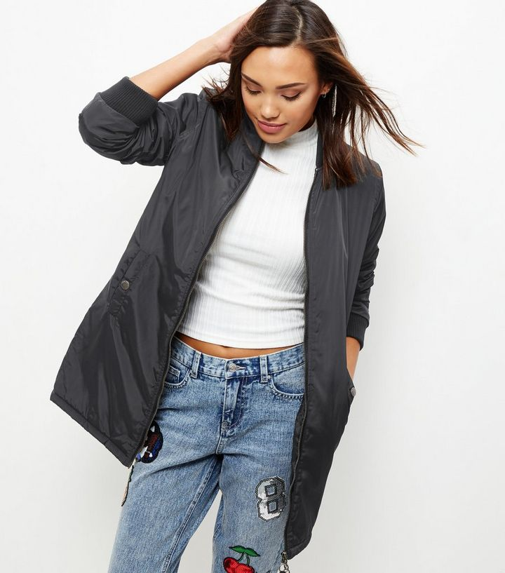 b9f5b0dba Black Padded Longline Bomber Jacket Add to Saved Items Remove from Saved  Items