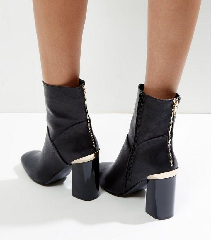 51efe057f20 Black Zip Back Metal Trim Heel High Ankle Boots Add to Saved Items Remove  from Saved Items