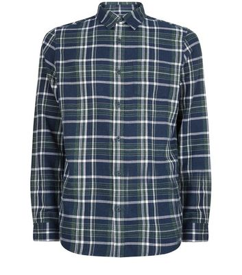 Navy Check Cotton Long Sleeve Shirt New Look