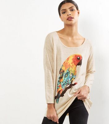 Mela Pale Beige Parrot Print Jumper New Look