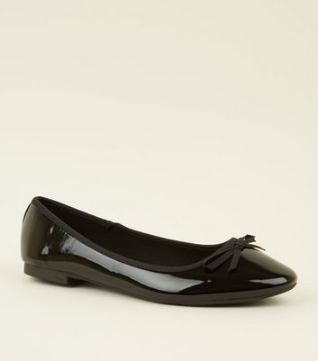 Wide Fit Black Patent Ballet Pumps