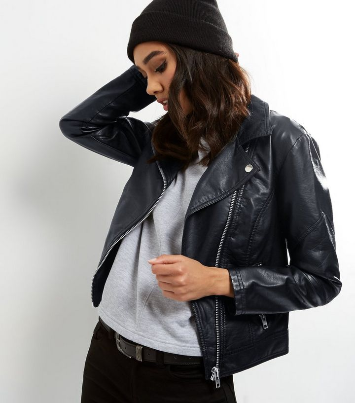 big clearance sale super specials thoughts on Petite Black Leather-Look Biker Jacket Add to Saved Items Remove from Saved  Items
