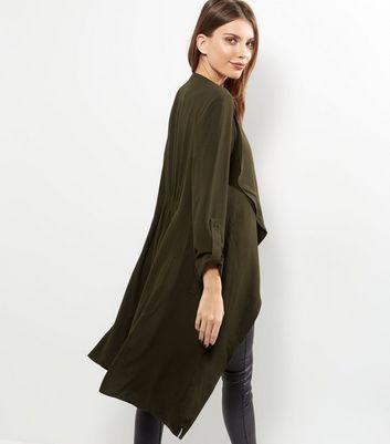 Tall Khaki Longline Waterfall Jacket New Look