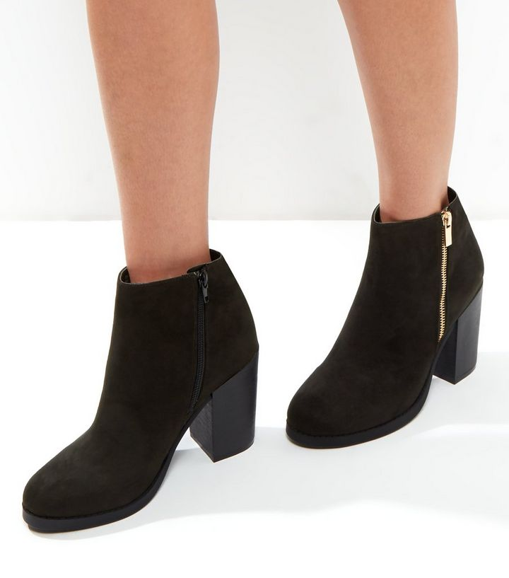 b6e7a4a3 Wide Fit Black Suedette Gold Zip Block Heel Boots | New Look