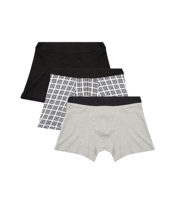 3 Pack Black Check Print Boxer Briefs New Look