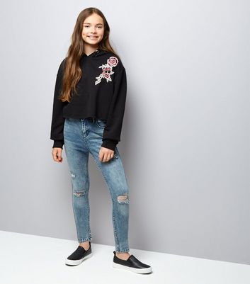 Teens Black Floral Embroidered Raw Hem Hoodie New Look