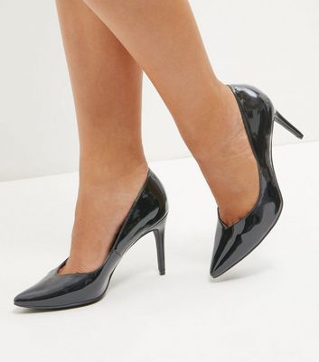 Black Patent Pointed Court Shoes | New Look