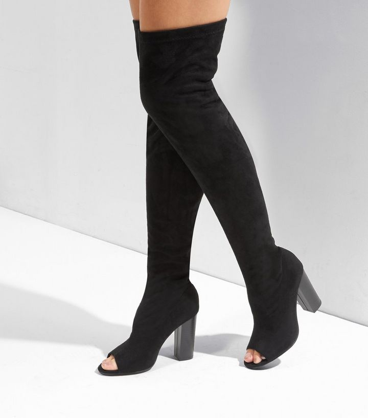 e6769f0dc1f5 Black Suedette Peep Toe Over The Knee Boots | New Look