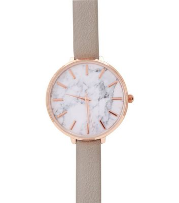 Grey Skinny Strap Marble Strap Watch New Look