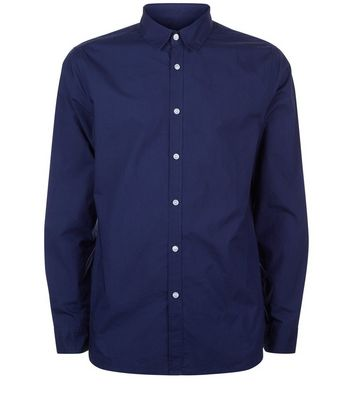 Navy Washed Cotton Long Sleeve Shirt New Look