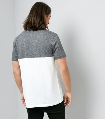 White and Grey Marl Colour Block T-Shirt New Look