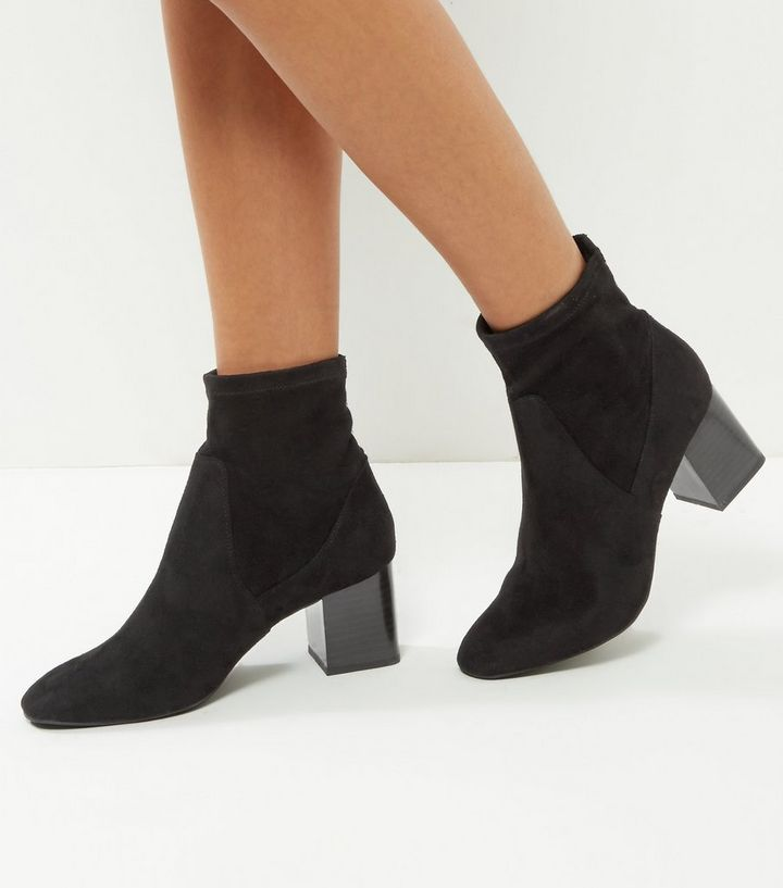 ed0a97d96bb889 Wide Fit Black Suedette Elasticated Block Heel Ankle Boots