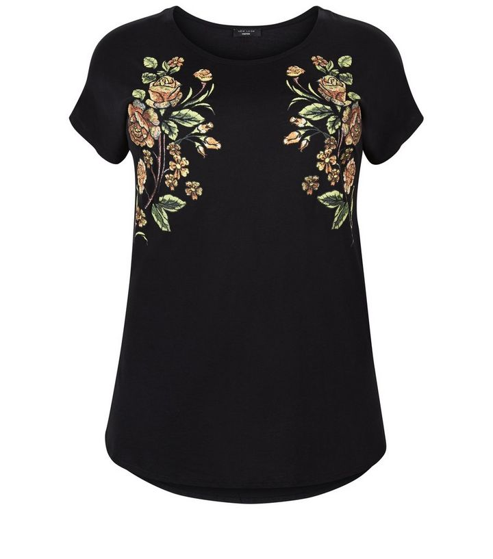 51ad256541f Curves Black Floral Embroidered T-Shirt Add to Saved Items Remove from  Saved Items