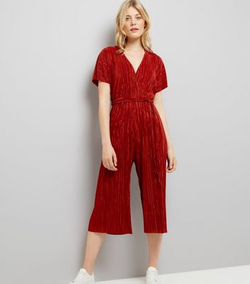 Rust Pleated Wrap Front Culotte Jumpsuit New Look