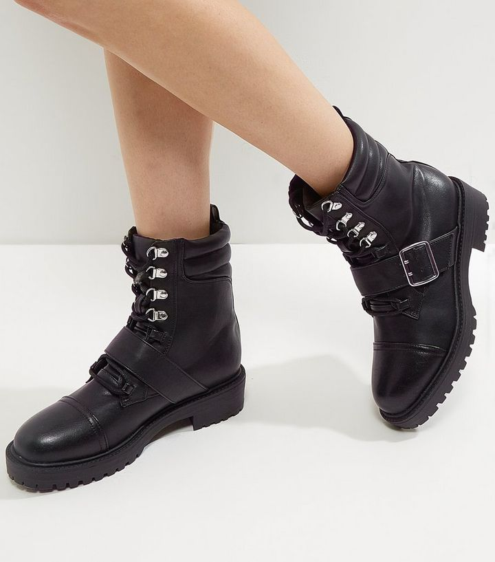 bddc2b1058 Wide Fit Black Lace Up Buckle Chunky Boots | New Look