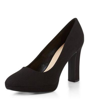 Wide Fit Black Suedette Platform Court Shoes