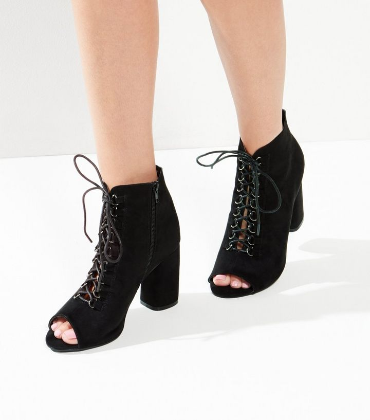 cb20b1e06 Wide Fit Black Suedette Lace Up Peep Toe Ankle Boots | New Look