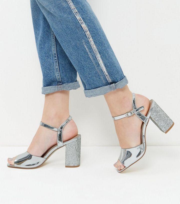 cff7cdc1fe3 Wide Fit Silver Glitter Block Heels