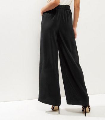 Black Self Tie Wide Leg Trousers New Look