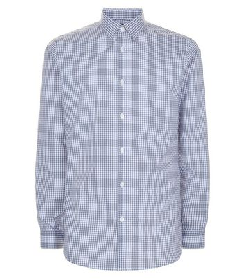Pale Blue Check Print Long Sleeve Shirt New Look