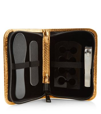 Gold Snakeskin Pedicure Set New Look