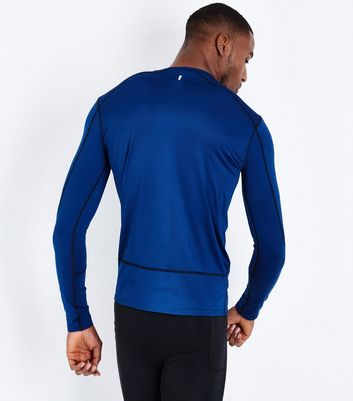 Blue Long Sleeve Sports T-Shirt New Look
