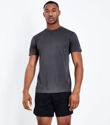 Grey Mesh Short Sleeve Sports T-Shirt